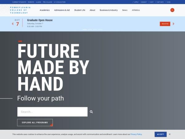 Screenshot of www.pct.edu