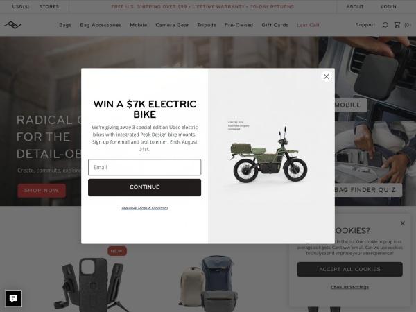 Captura de pantalla de www.peakdesign.com