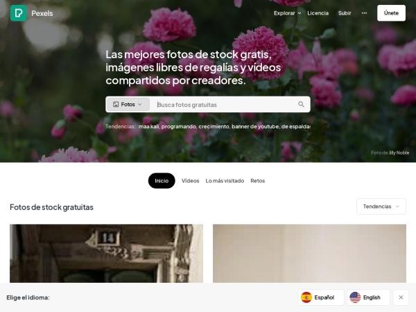 Captura de pantalla de www.pexels.com