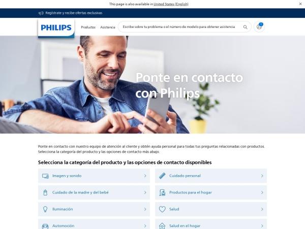Captura de pantalla de www.philips.com.co