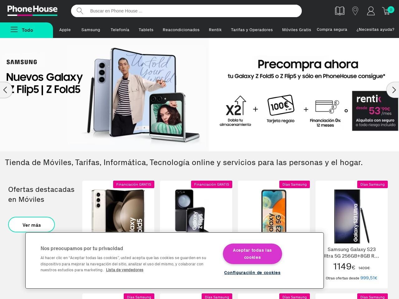 Captura de pantalla de www.phonehouse.es