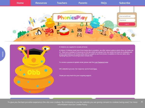 Screenshot of www.phonicsplay.co.uk