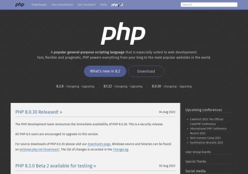 Screenshot of www.php.net