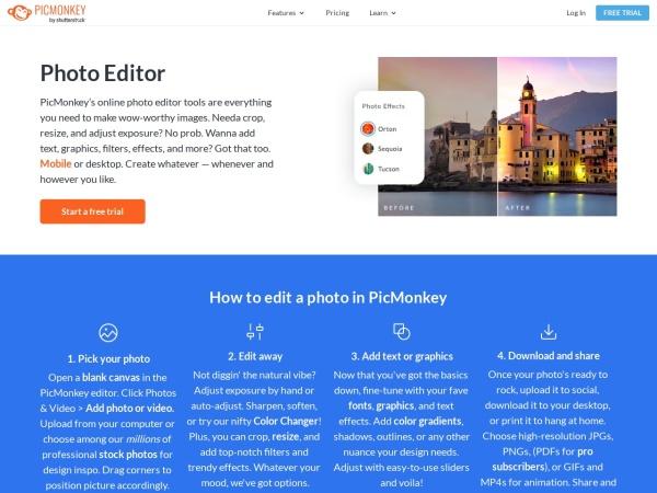 Screenshot of www.picmonkey.com