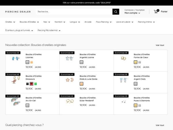 Screenshot of www.piercing-dealer.com