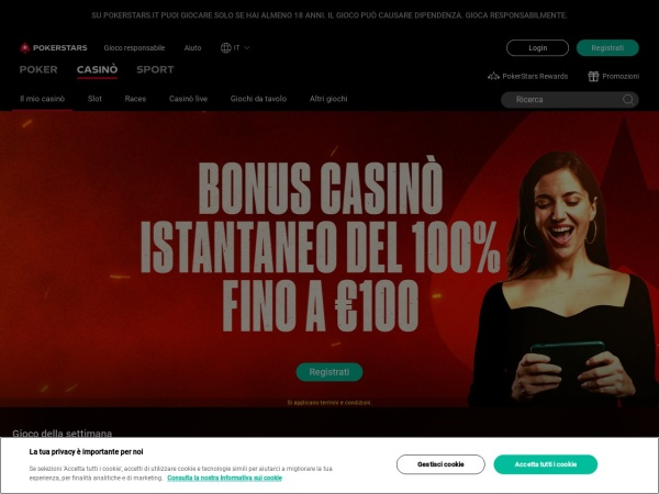 Screenshot of www.pokerstarscasino.it