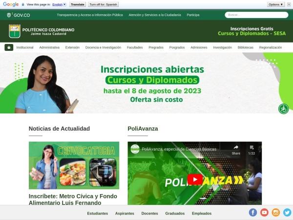 Screenshot of www.politecnicojic.edu.co