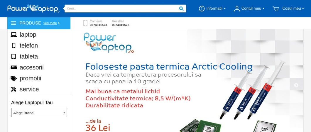 Screenshot of www.powerlaptop.ro