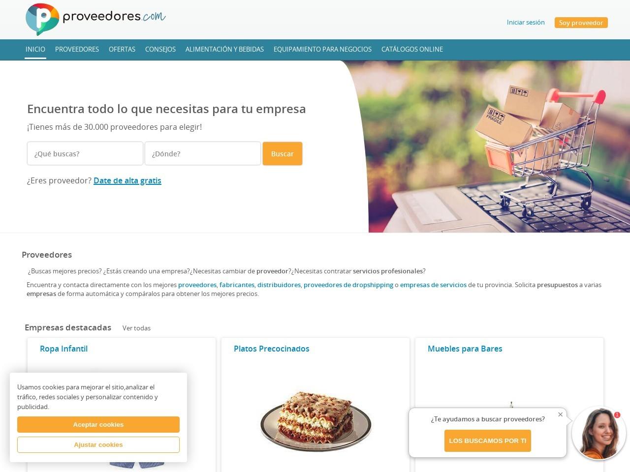 Captura de pantalla de www.proveedores.com