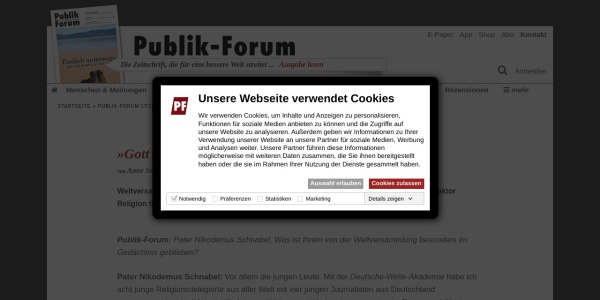 Screenshot of www.publik-forum.de