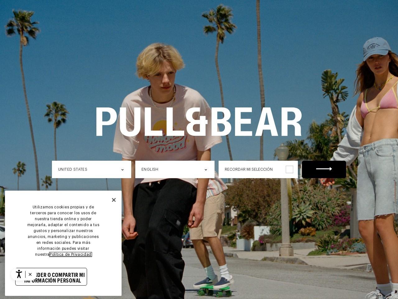 Captura de pantalla de www.pullandbear.com