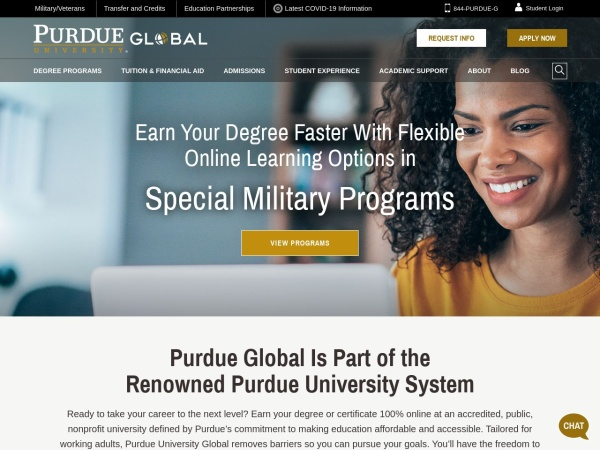 Screenshot of www.purdueglobal.edu