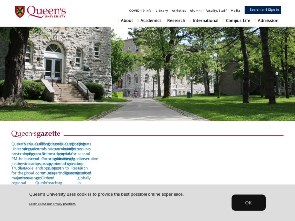 Screenshot of www.queensu.ca