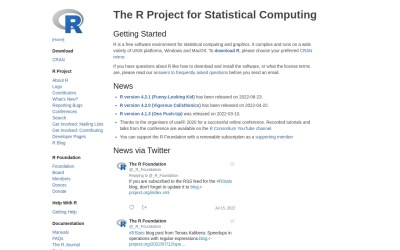 Screenshot of www.r-project.org