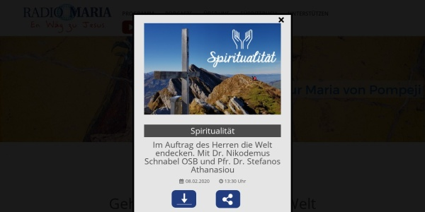 Screenshot of www.radiomaria.ch