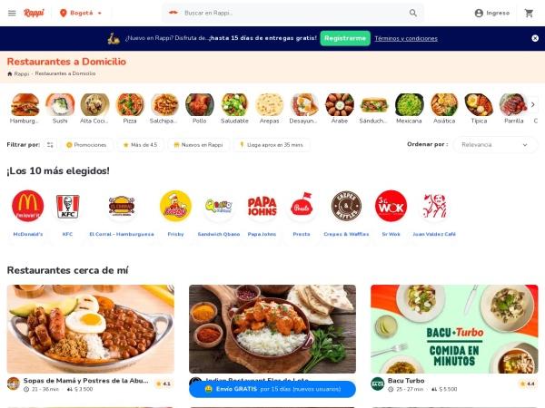 Captura de pantalla de www.rappi.com.co