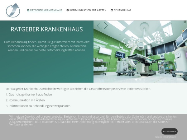 Screenshot von www.ratgeber-krankenhaus.de
