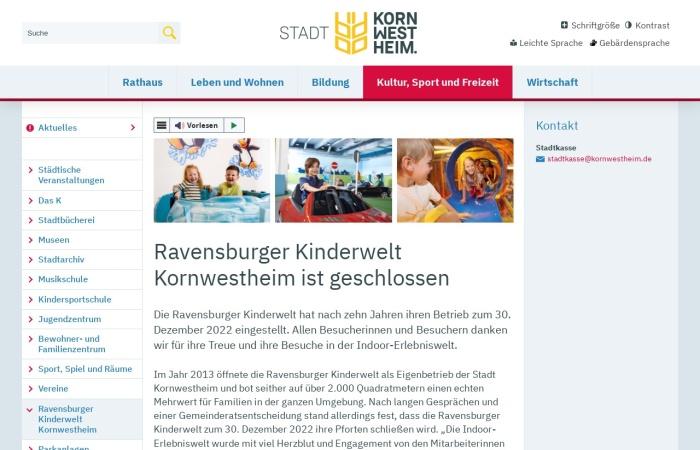 Screenshot von www.ravensburger-kinderwelt.de