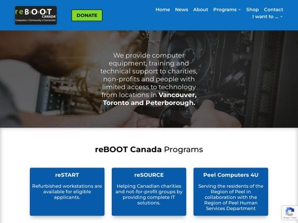 Screenshot of www.rebootcanada.ca