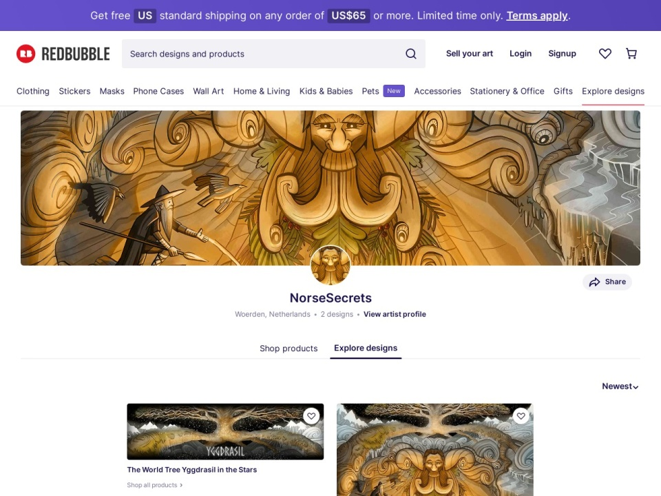 Screenshot of www.redbubble.com