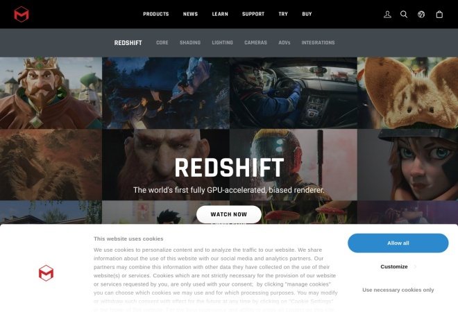Screenshot of www.redshift3d.com