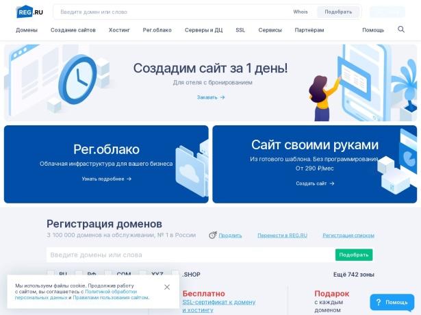 Screenshot of www.reg.ru