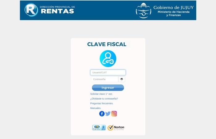 Captura de pantalla de www.rentasjujuyonline.gob.ar