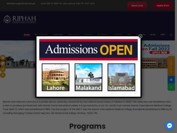 Screenshot of www.riphah.edu.pk