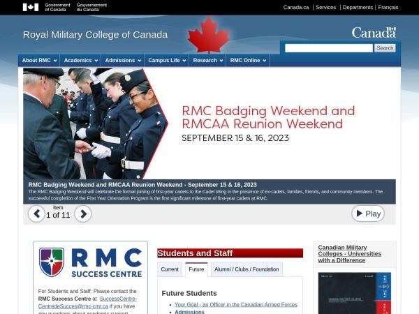 Screenshot of www.rmc-cmr.ca