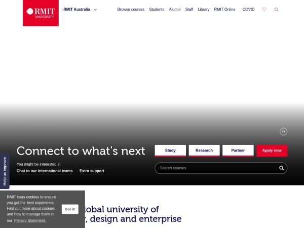 Screenshot of www.rmit.edu.au