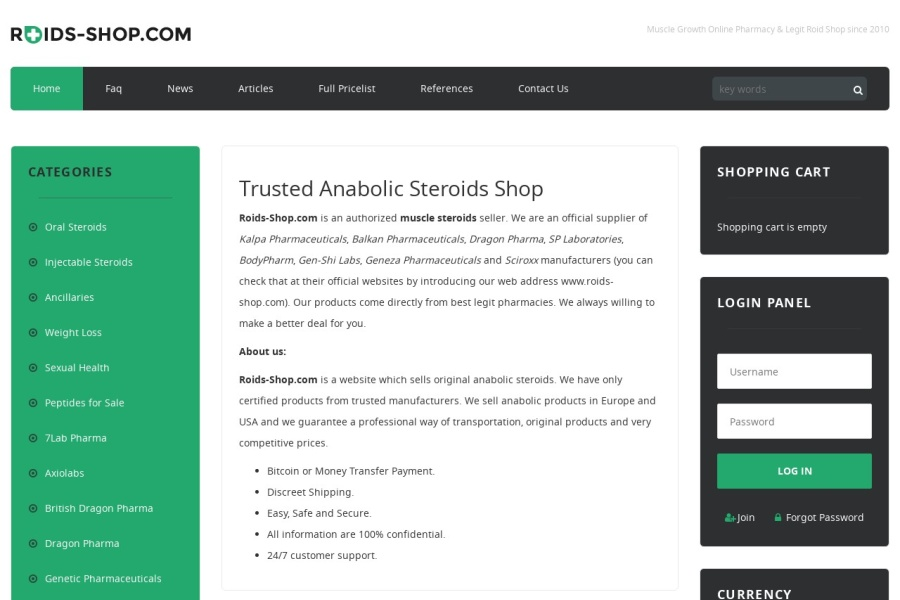 Screenshot of www.roids-shop.com