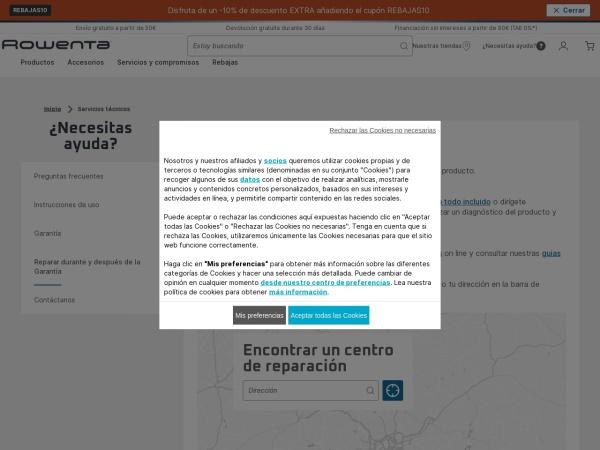 Captura de pantalla de www.rowenta.es