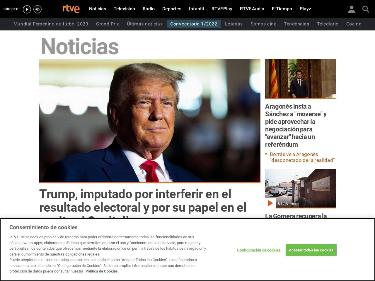 Captura de pantalla de www.rtve.es