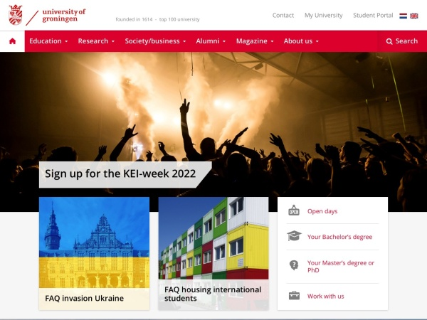 Screenshot of www.rug.nl