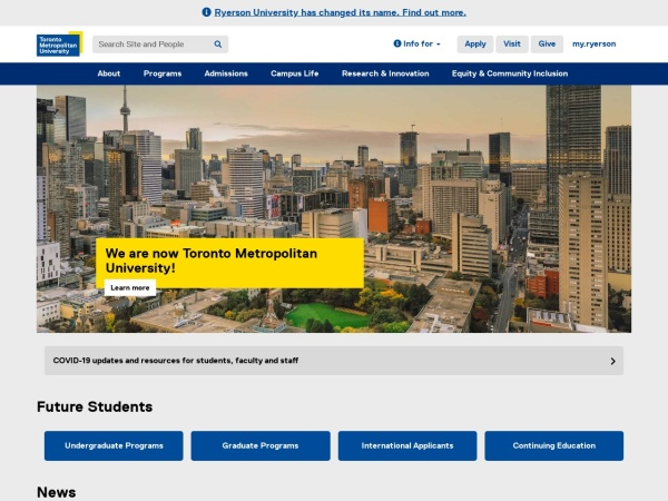 Screenshot of www.ryerson.ca
