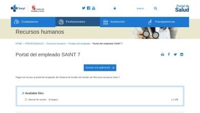 Portal del empleado SAINT 7   Profesionales - Sacyl