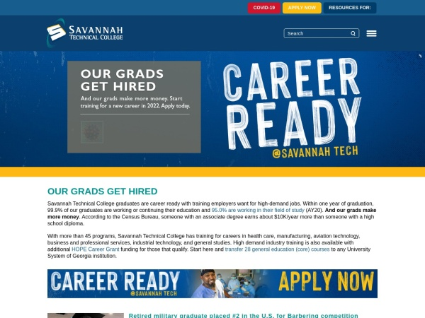 Screenshot of www.savannahtech.edu