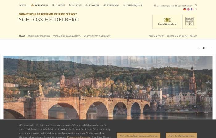 Screenshot von www.schloss-heidelberg.de