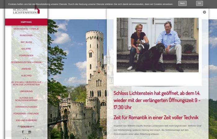 Screenshot von www.schloss-lichtenstein.de