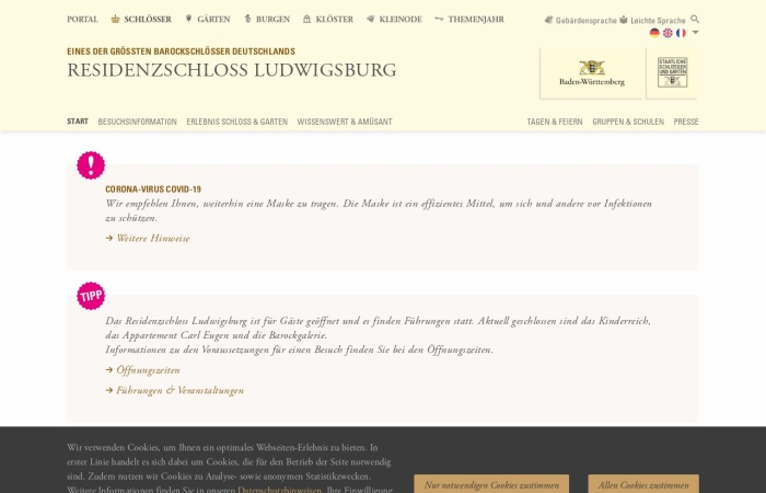 Screenshot von www.schloss-ludwigsburg.de