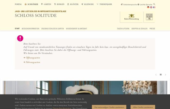 Screenshot von www.schloss-solitude.de