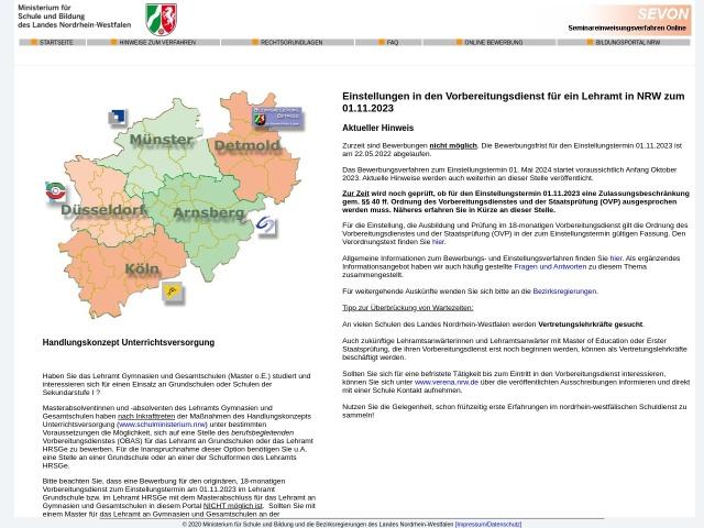 Screenshot von www.schulministerium.nrw.de