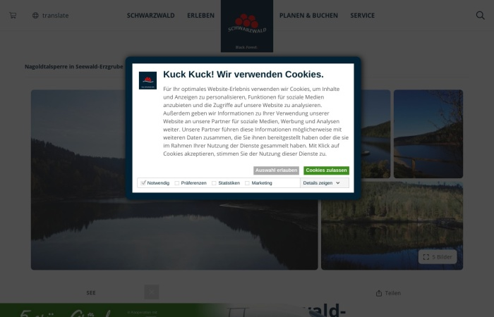 Screenshot von www.schwarzwald-tourismus.info