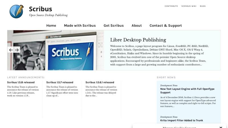 Screenshot von www.scribus.net