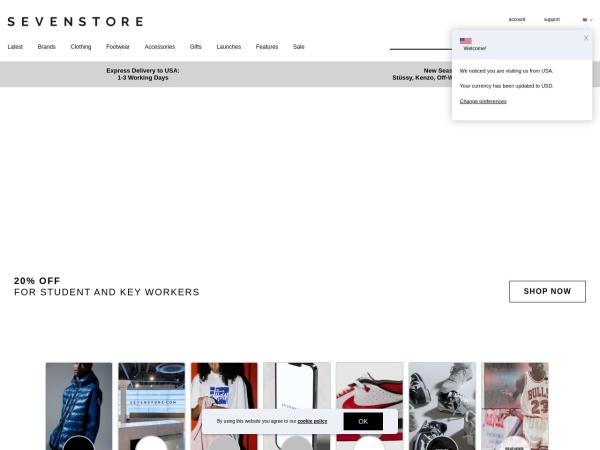 Screenshot of www.sevenstore.com