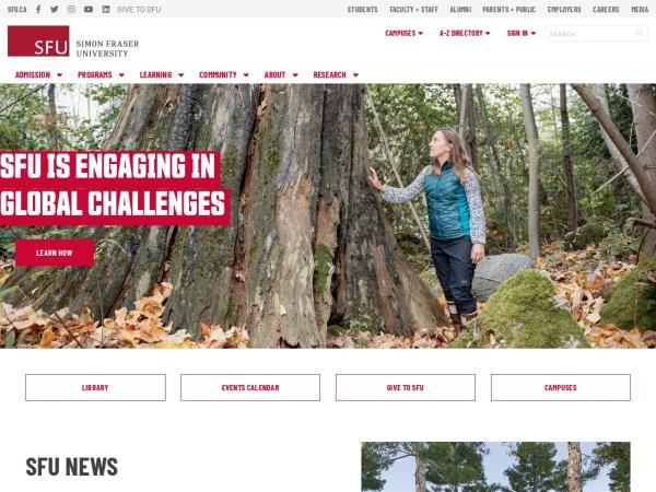Screenshot of www.sfu.ca