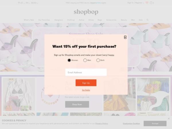 Screenshot of www.shopbop.com