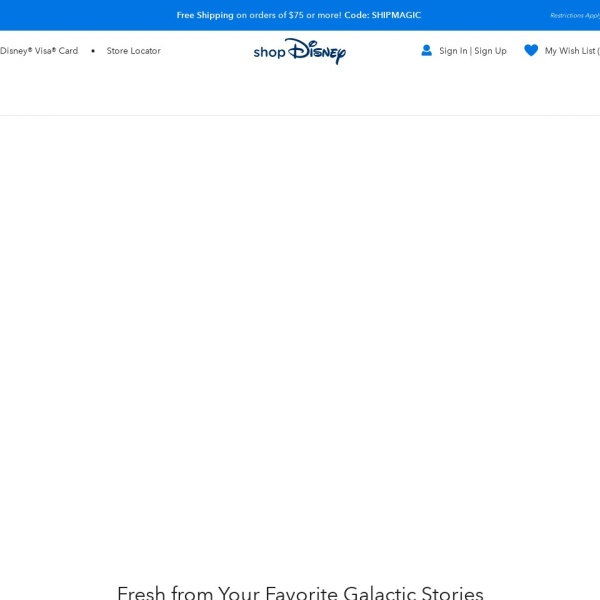 Screenshot of www.shopdisney.com