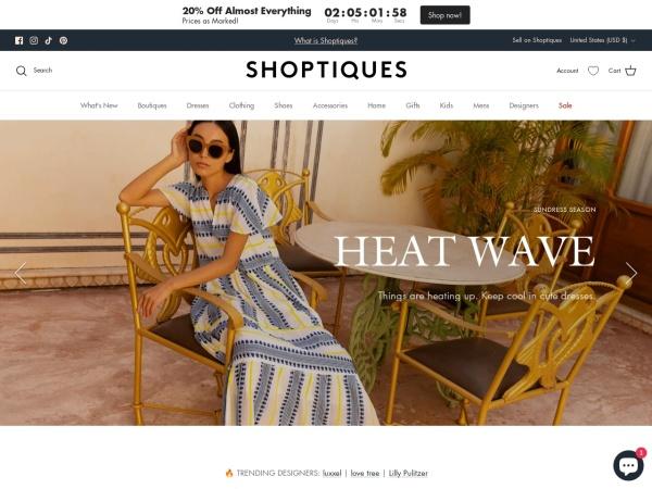 Screenshot of www.shoptiques.com