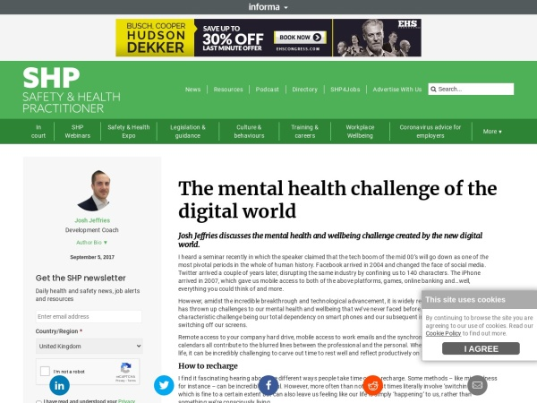 The mental health challenge of the Digital World